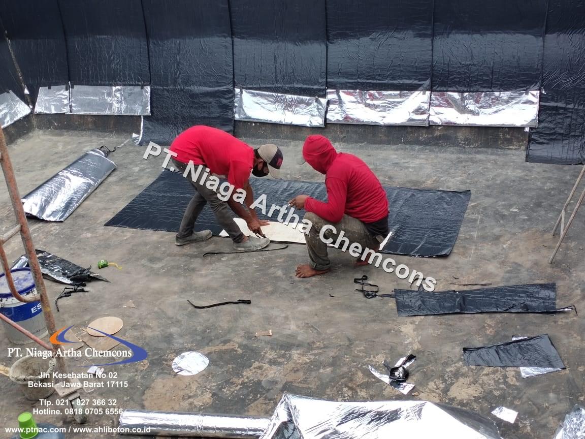 Pengaplikasian Waterproofing Membrane Tempel